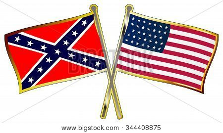 The Flag Of Both Sides During The American Civil War Crossed With Flag Poles As A Lapel Pin