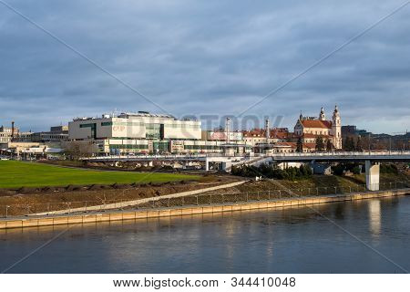 Vilnius, Lithuania - December 16, 2019: The New City Center With The High-rise Buildings On The Nort