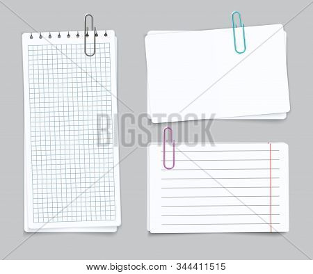 Realistic Different Sheets. Blank Gridded Torn Notebook Paper Color Paper Clips. Vector Notepapers F