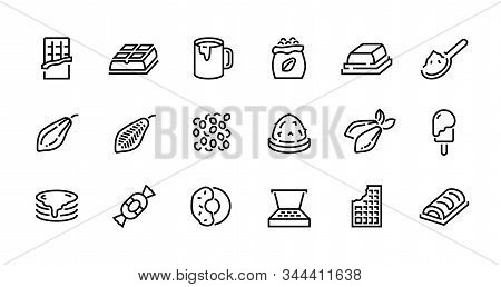Chocolate Line Icons. Cocoa Pods Beans And Packs, Chocolate Candies Bars Toppings And Hot Drink. Vec