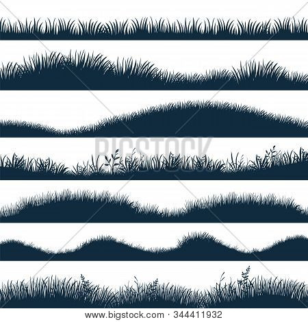 Grass Silhouette. Horizontal Hills With Plants And Weed, Cartoon Wavy Meadow And Grassland. Vector B