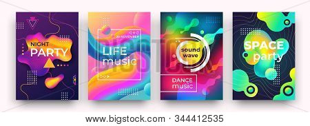 Abstract Gradient Poster. Vibrant Colors And Fluid Shapes, Night Party Club Poster, Music, Dancing F