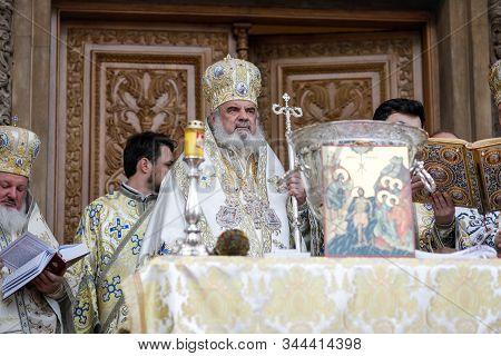 Bucharest, Romania - January 6, 2020: Romanian Orthodox Patriarch Daniel During The Epiphany Mass, O