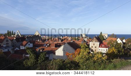 Visby, Sweden On October 12. View Of Buildings, Roof On October 12, 2019 In Visby, Sweden. Old House