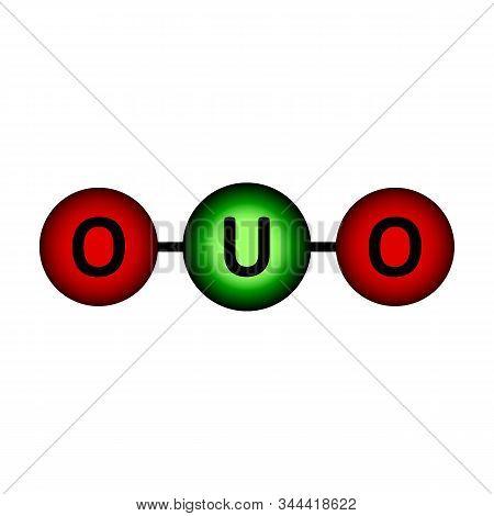 Uranium Oxide Molecule Icon On White Background. Vector Illustration.