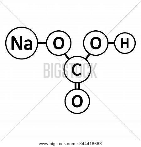 Sodium Bicarbonate Molecule Icon On White Background. Vector Illustration.