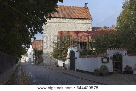 Visby, Sweden On October 11. Street View Of Buildings During The Autumn On October 11, 2019 In Visby