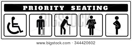 Priority Seating Icons For Sticker, Disable, Passenger Elderly, Passenger, Pregnant,old Man, Woman W