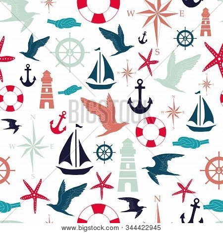 Vector White And Red Nautical Elements Seamless Pattern Background With Anchor, Ship, Rudder, Seagul