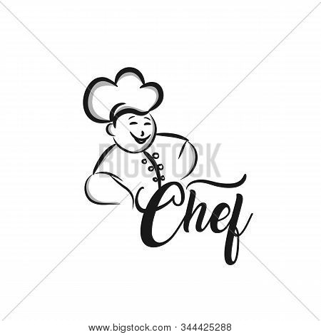 Monochrome Illustration Of Whiskered Chef Menu Symbol With Chef And Hand. Black Vector Illustration