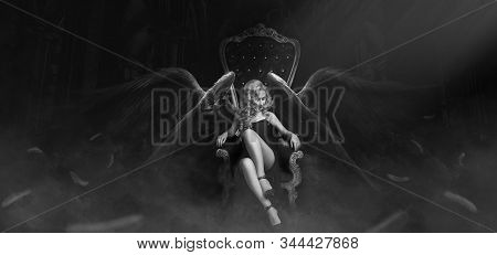 The Girl With The Wings In A Soft Armchair That Stands In A Huge Hall.
