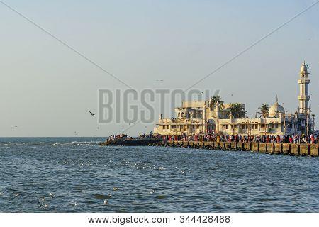 Haji Ali Dargah Mosque And Tomb On Islet Off The Coast Of Worli In Mumbai. India