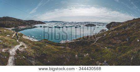 Aerial Panorama Of Beautifull Landscape With Floating Icebergs In Glacier Lagoon And Lake In Greenla