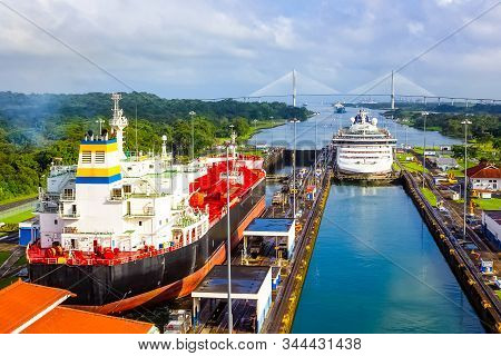 View Of Panama Canal From Cruise Ship At Panama.