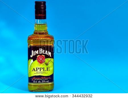 Tyumen, Russia - January 5, 2020: A Bottle Of Jim Beam Whiskey With Green Apple, Jim Beam Is One Of