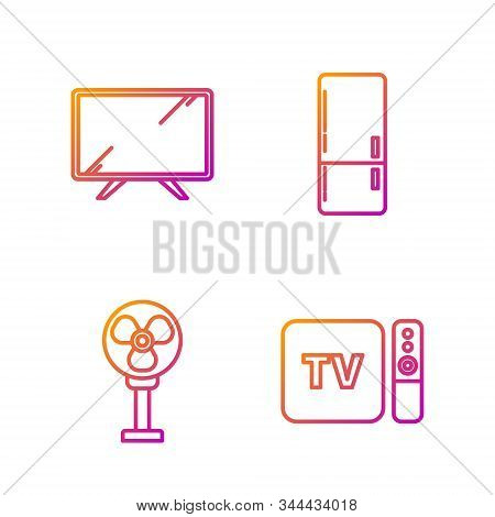 Set Line Tv Box Receiver And Player With Remote Controller , Electric Fan , Smart Tv And Refrigerato