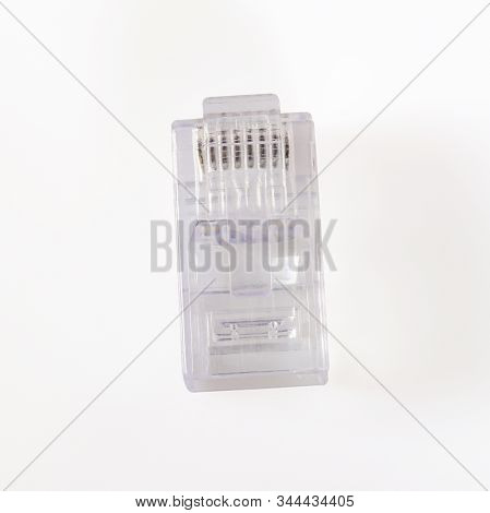 Connector Rj-45. Transparent Connector Rj45 For Network And Internet. Close-up Macro Isolated On Whi