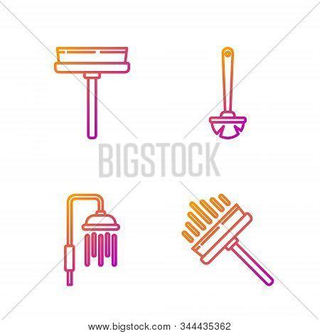 Set Line Squeegee, Scraper, Wiper, Shower Head With Water Drops Flowing , Squeegee, Scraper, Wiper A