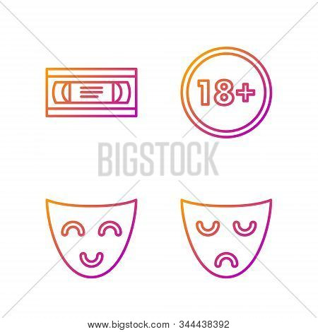 Set Line Drama Theatrical Mask , Comedy Theatrical Mask , Vhs Video Cassette Tape And Under 18 Years