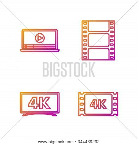 Set Line 4k Movie, Tape, Frame , Screen Tv With 4k Ultra Hd Video Technology , Online Play Video And