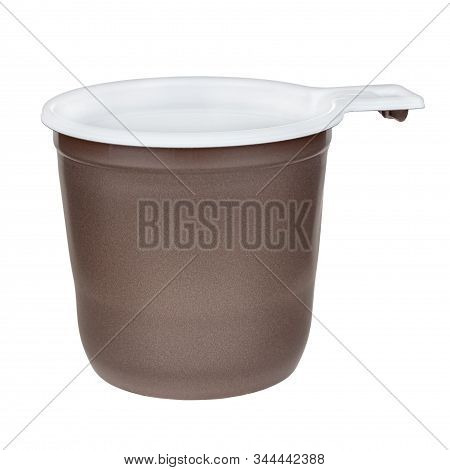 Unused Disposable White Plastic Mug With Brown Satin Texture On The Outside Isolated On White Backgr