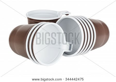 Standing One And Lying Three And Five In Sets Unused Disposable White Plastic Mugs With Brown Satin