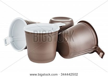 Standing, Lying And Upside Down Four Unused Disposable White Plastic Mugs With Brown Satin Texture O