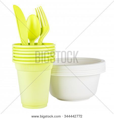Set Of Six Unused Green Disposable Cups With Knife, Spoon, Fork And White Bowl Made Of Biodegradable