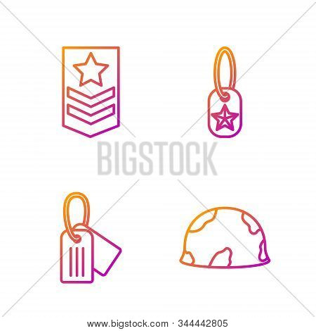 Set Line Military Helmet , Military Dog Tag , Chevron And Military Dog Tag . Gradient Color Icons. V
