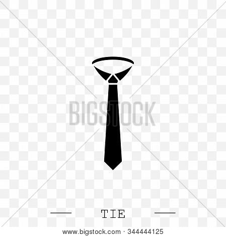 Tie Icon Black Flat Vector Illustration On White Background Eps 10. Tie Icon In Trendy Style Isolate