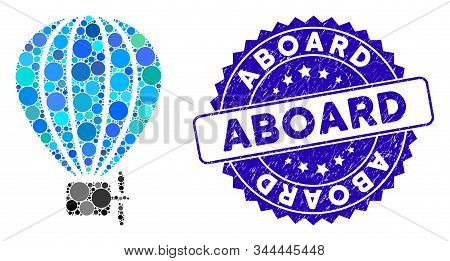 Mosaic Air Balloon Icon And Rubber Stamp Seal With Aboard Text. Mosaic Vector Is Designed With Air B