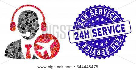 Mosaic Air Dispatcher Icon And Grunge Stamp Seal With 24h Service Caption. Mosaic Vector Is Created