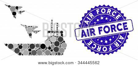 Mosaic Aircraft Carrier Icon And Rubber Stamp Seal With Air Force Text. Mosaic Vector Is Created Wit