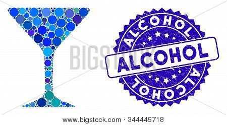 Mosaic Alcohol Glass Icon And Rubber Stamp Seal With Alcohol Text. Mosaic Vector Is Formed With Alco