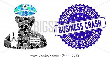 Collage Army General Icon And Corroded Stamp Seal With Business Crash Phrase. Mosaic Vector Is Desig