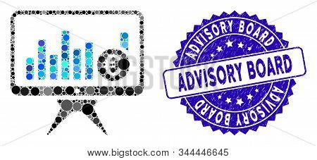 Collage Bar Chart Monitoring Icon And Distressed Stamp Seal With Advisory Board Phrase. Mosaic Vecto