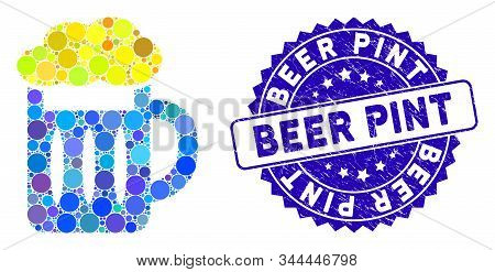 Mosaic Beer Glass Icon And Corroded Stamp Seal With Beer Pint Caption. Mosaic Vector Is Formed From