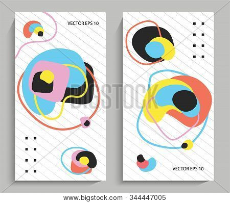 Abstraction Of Colorful Round Shapes. Abstract Shapes In Bright Colors. Technical Cover, Futuristic