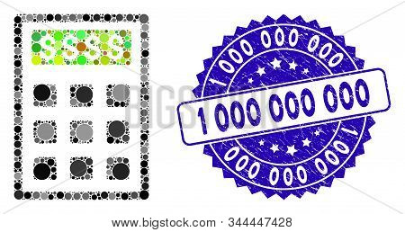 Mosaic Book-keeping Calculator Icon And Grunge Stamp Seal With 1 000 000 000 Phrase. Mosaic Vector I