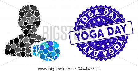 Mosaic Boxing Sportsman Icon And Grunge Stamp Seal With Yoga Day Text. Mosaic Vector Is Designed Fro