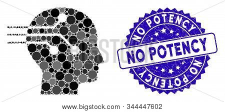 Mosaic Brain Interface Icon And Grunge Stamp Seal With No Potency Caption. Mosaic Vector Is Formed W