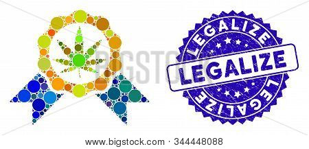 Mosaic Cannabis Legalize Icon And Rubber Stamp Watermark With Legalize Phrase. Mosaic Vector Is Crea