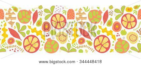 Summer Fruits And Leaves Seamless Vector Border. Tropical Green Red Orange Yellow Repeating Pattern