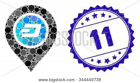 Mosaic Dash Map Pointer Icon And Grunge Stamp Seal With 11 Text. Mosaic Vector Is Created With Dash