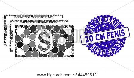 Mosaic Dollar Banknotes Icon And Grunge Stamp Watermark With 20 Cm Penis Caption. Mosaic Vector Is C