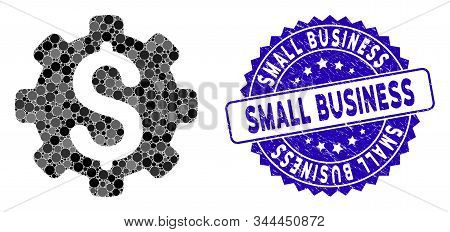 Mosaic Dollar Options Icon And Corroded Stamp Seal With Small Business Text. Mosaic Vector Is Formed