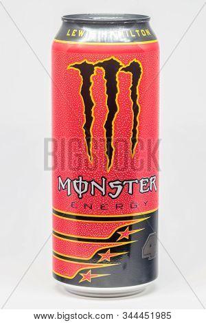 Pruszcz Gdanski, Poland - January 11, 2020: Can Of 500 Ml Monster Energy Lewis Hamilton Edition. Lew