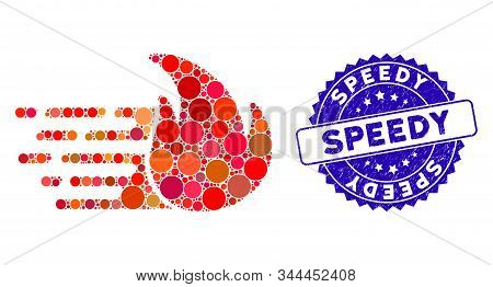 Mosaic Express Fire Icon And Grunge Stamp Seal With Speedy Text. Mosaic Vector Is Designed From Expr