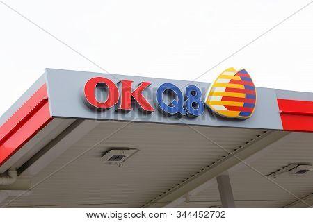 Vagnharad, Sweden - September 9, 2019: Close-up View Of Logo For The Okq8 Gasoline Service Station B