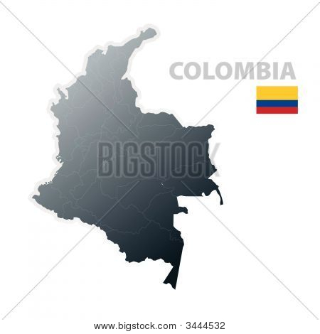 Colombia Map With Official Flag